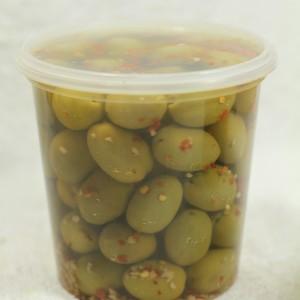 Jumbo Kalamata Olives - Garlic & Chili (840 g. tub)